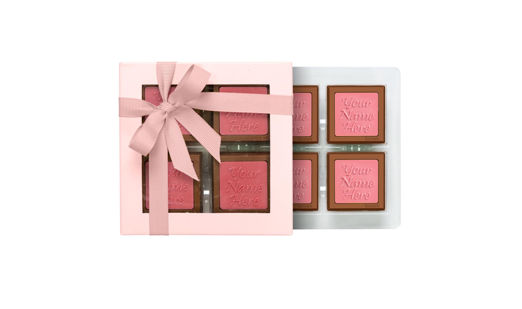 Transparent Box 4 PCS Chocolate Pink