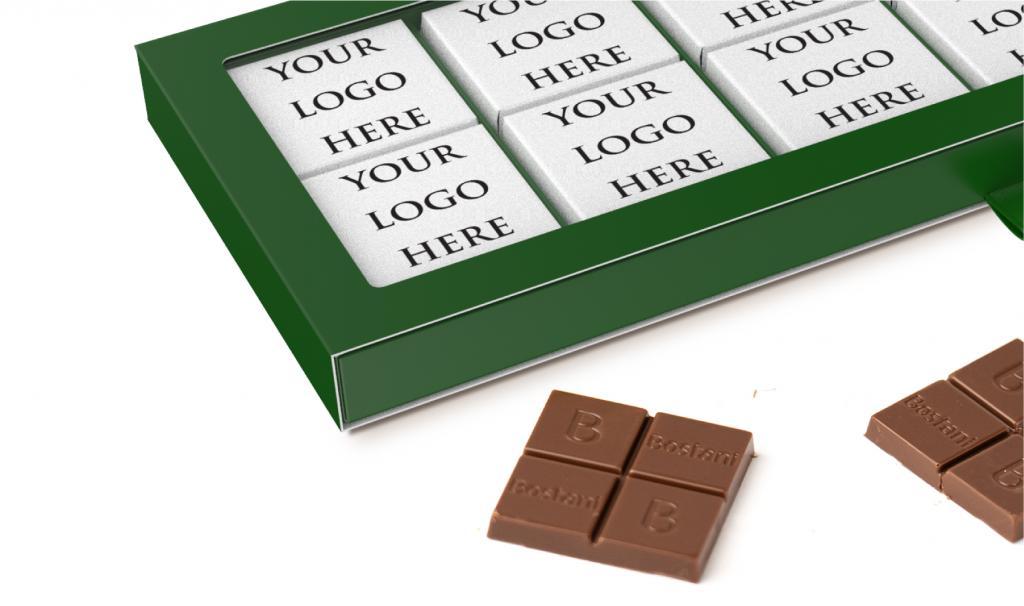 علبة الشوكولا الرقيقة الخضراء 24 حبة