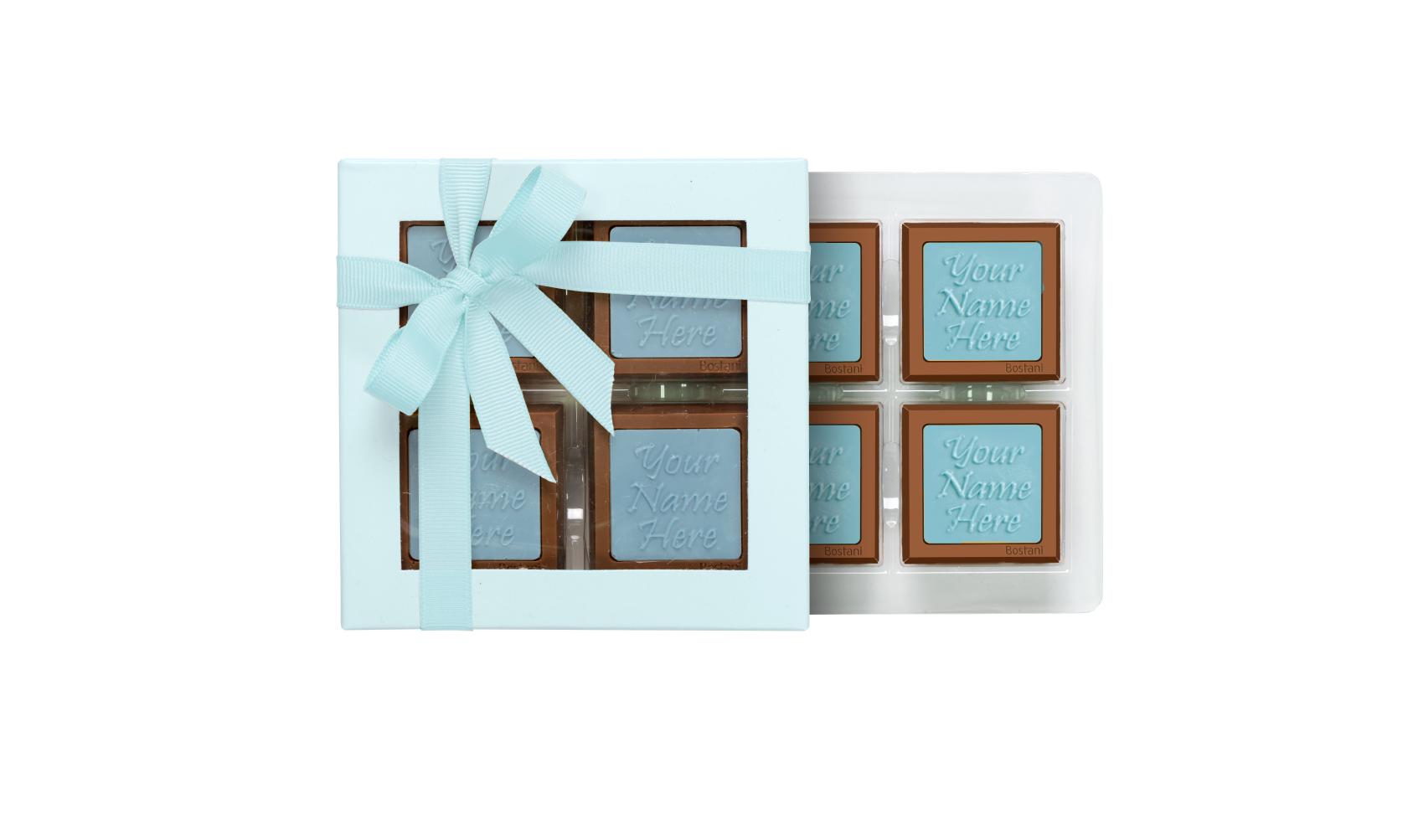 علبة الشوكولا الشفافة (4 قطع شوكولا) أزرق