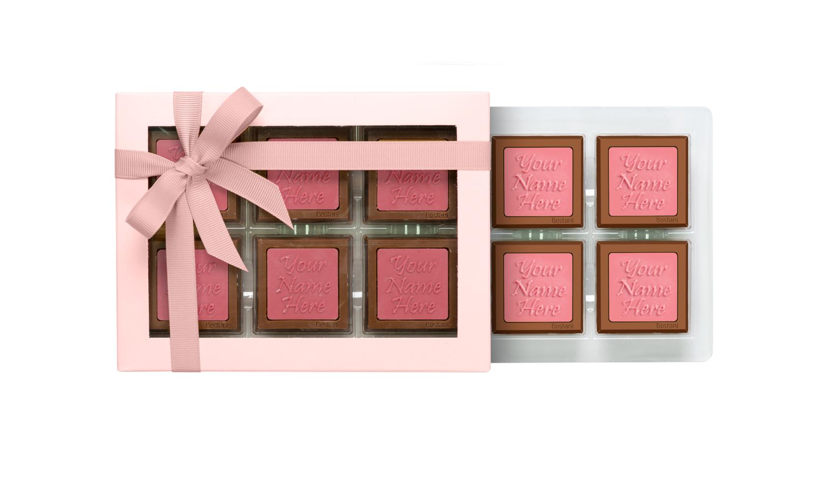 علبة الشوكولا الشفافة (6 قطع شوكولا) وردي