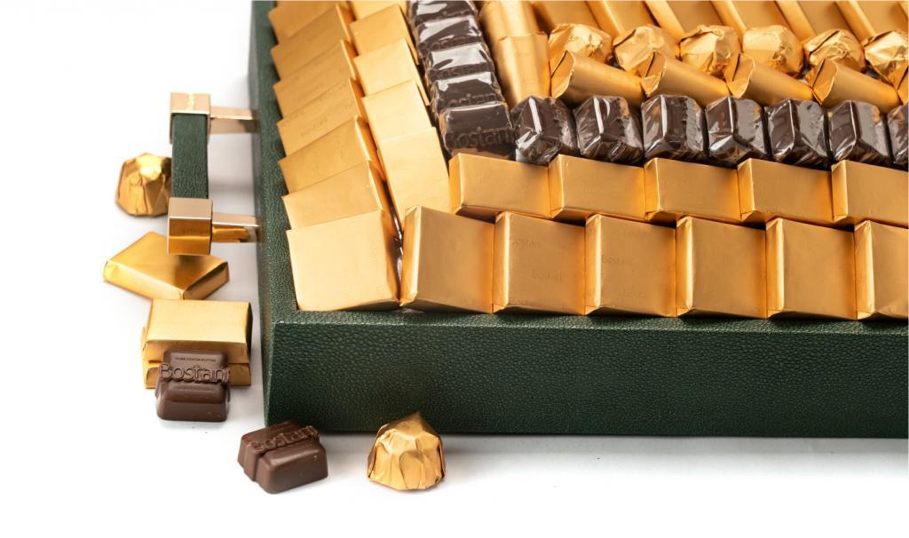 Leatherd Tray Green Medium Mix Chocolate