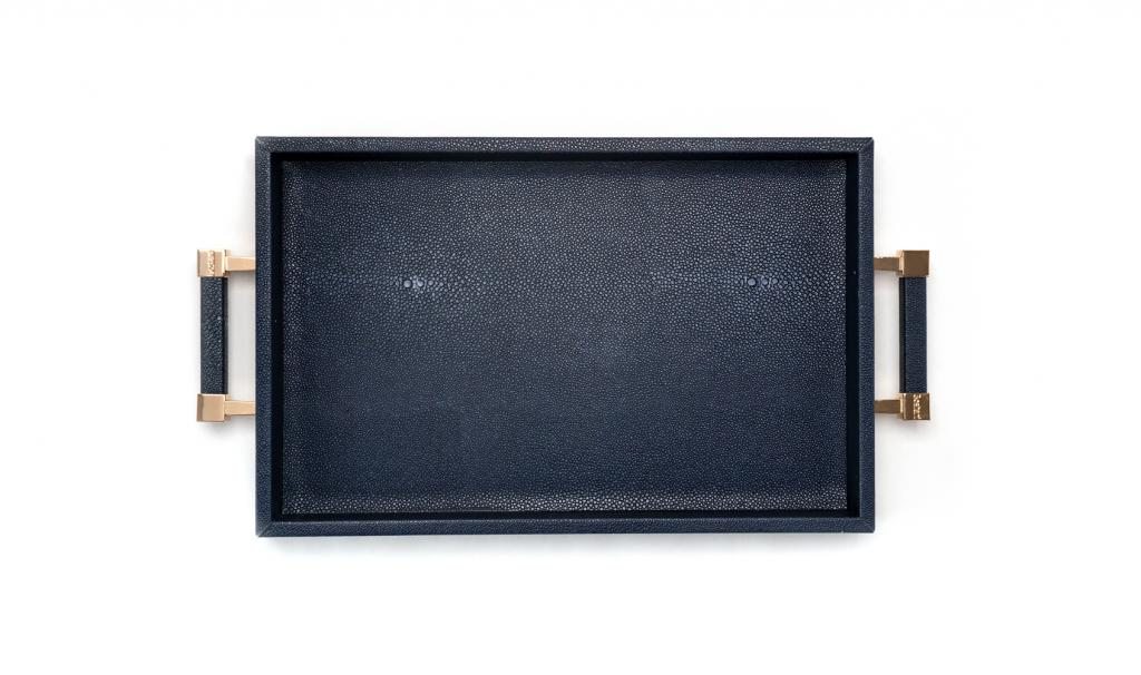 Congratulations Leathered Dark Blue Tray Medium