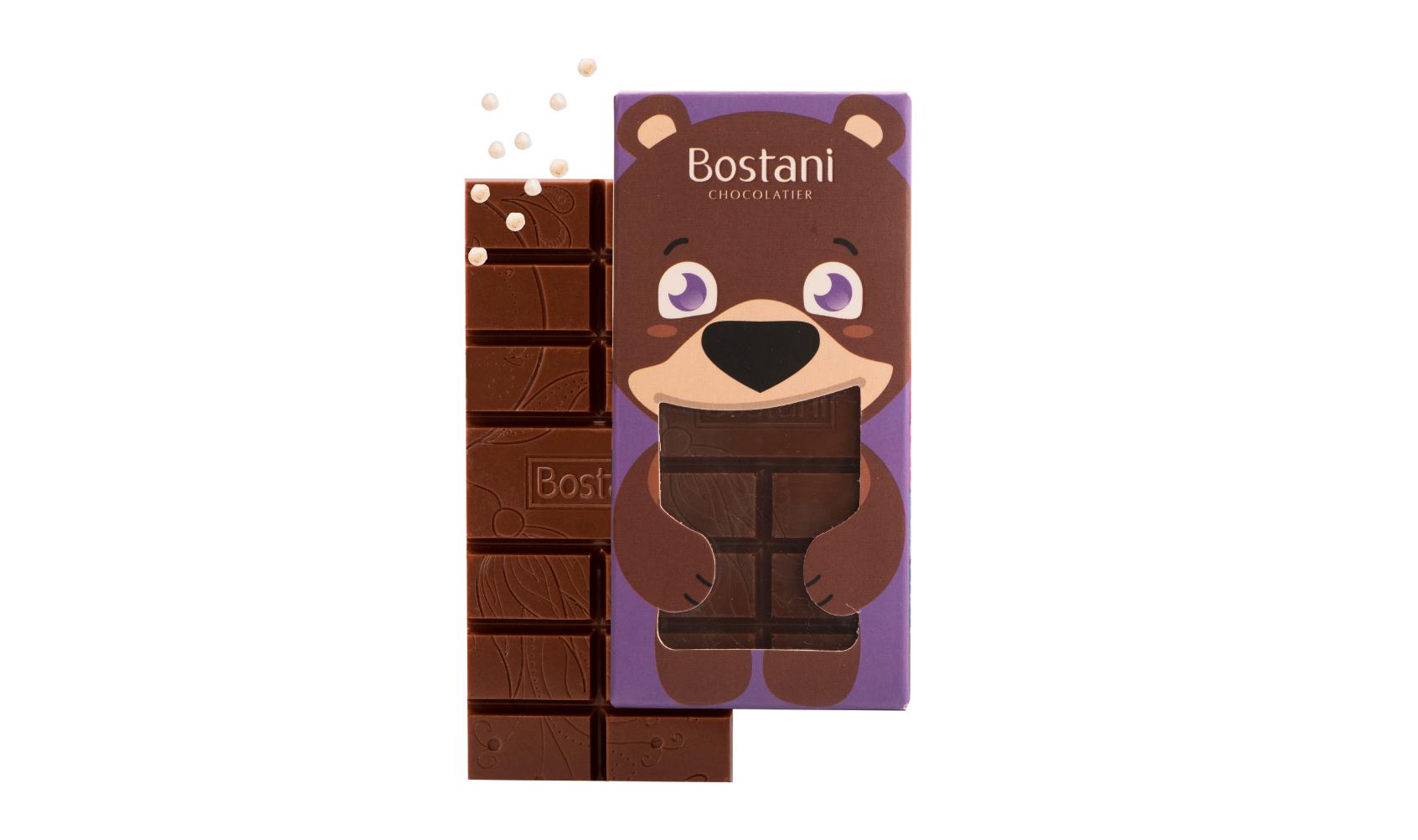 لوح شوكولاتة بالحليب للأطفال مع الكرسبي