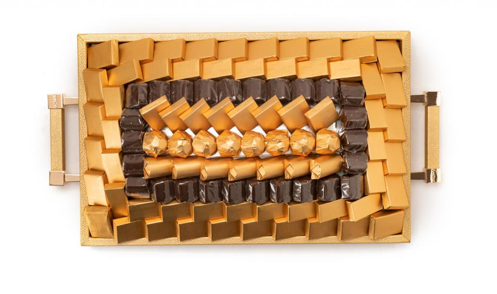 Leatherd Tray Gold Small Mix Chocolate