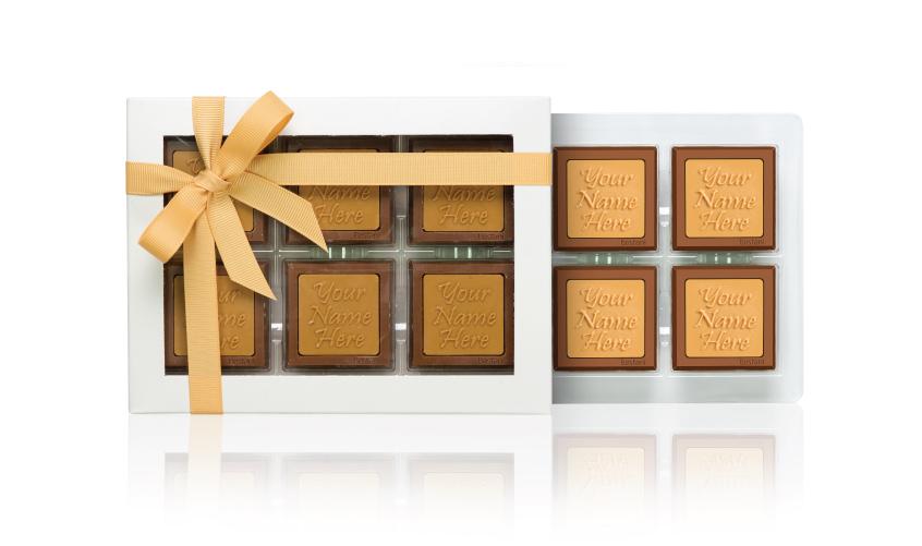 علبة الشوكولا الشفافة (6 قطع شوكولا)