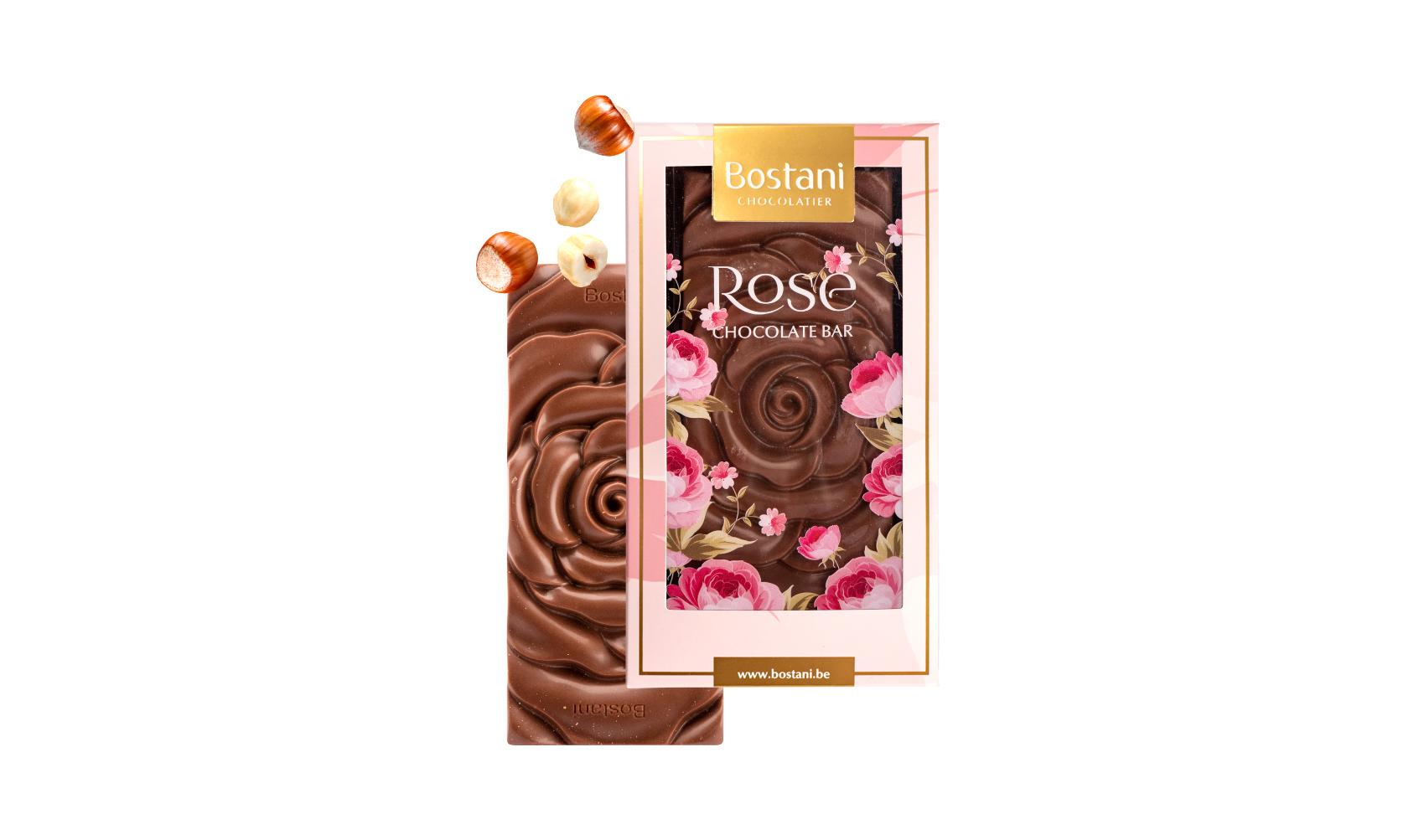 Rose Bar Milk Chocolate Hazelnuts Small 40g