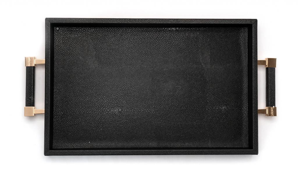 Congratulations Leathered Black Tray Small