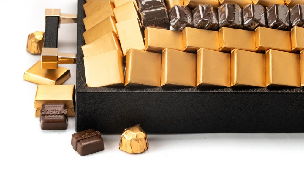 Leatherd Tray Black Medium Mix Chocolate