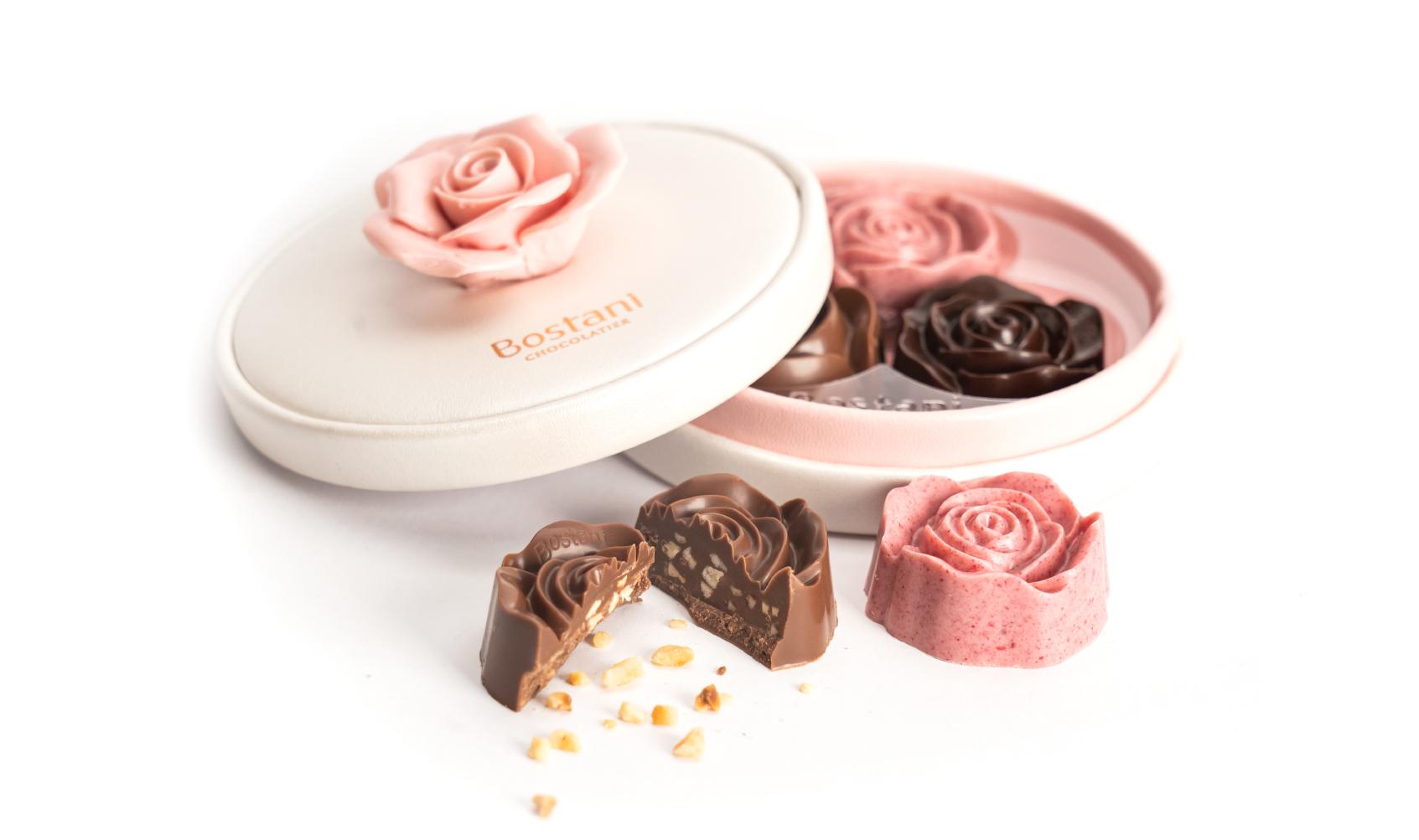 علبة شوكولاتة الوردة 3 حبات