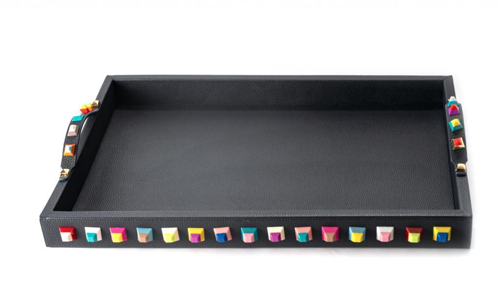 Leatherd Tray Dark Blue with colored Beads Medium Mix Chocolate