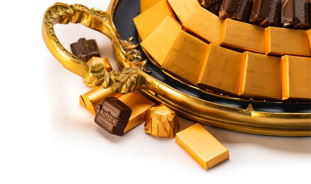 Mix Chocolate Medium Dark Blue Metal Tray