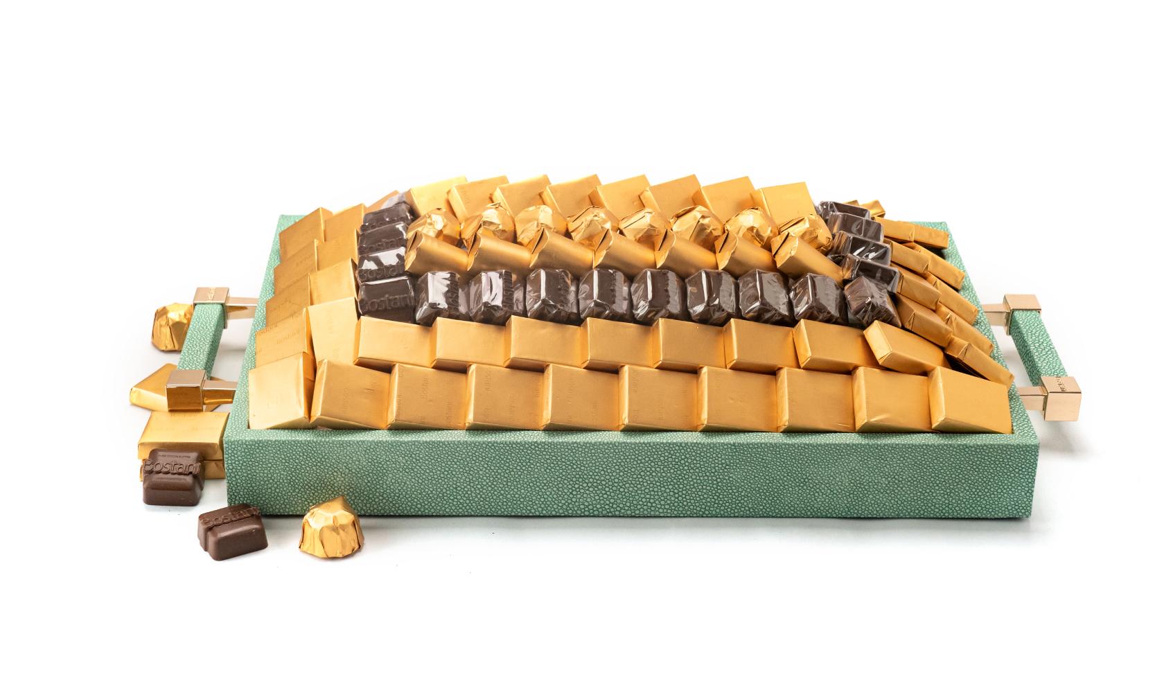 Leatherd Tray Tiffany Small Mix Chocolate