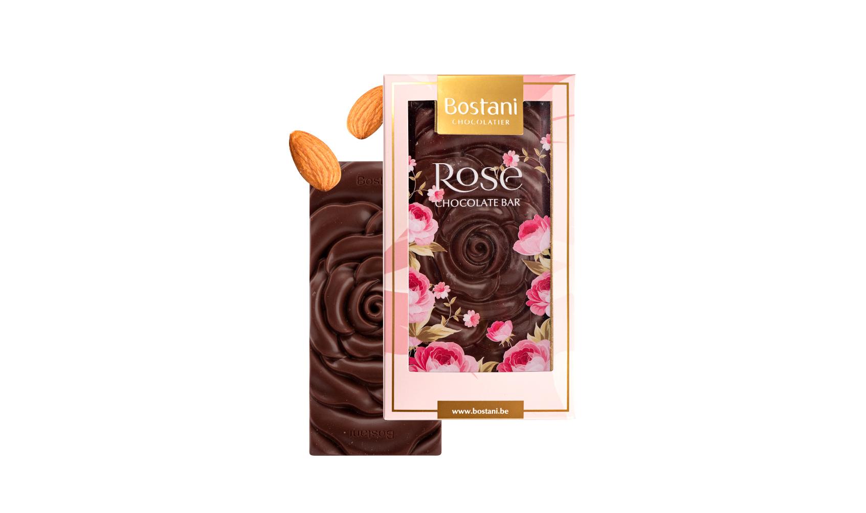 Rose Bar Dark Chocolate Almond Small 40g