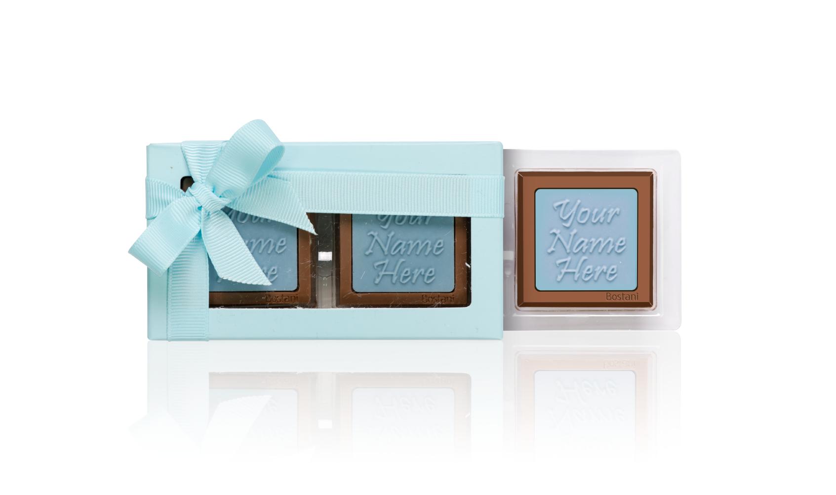 العلبة الشفافة (2 قطعة شوكولا) أزرق