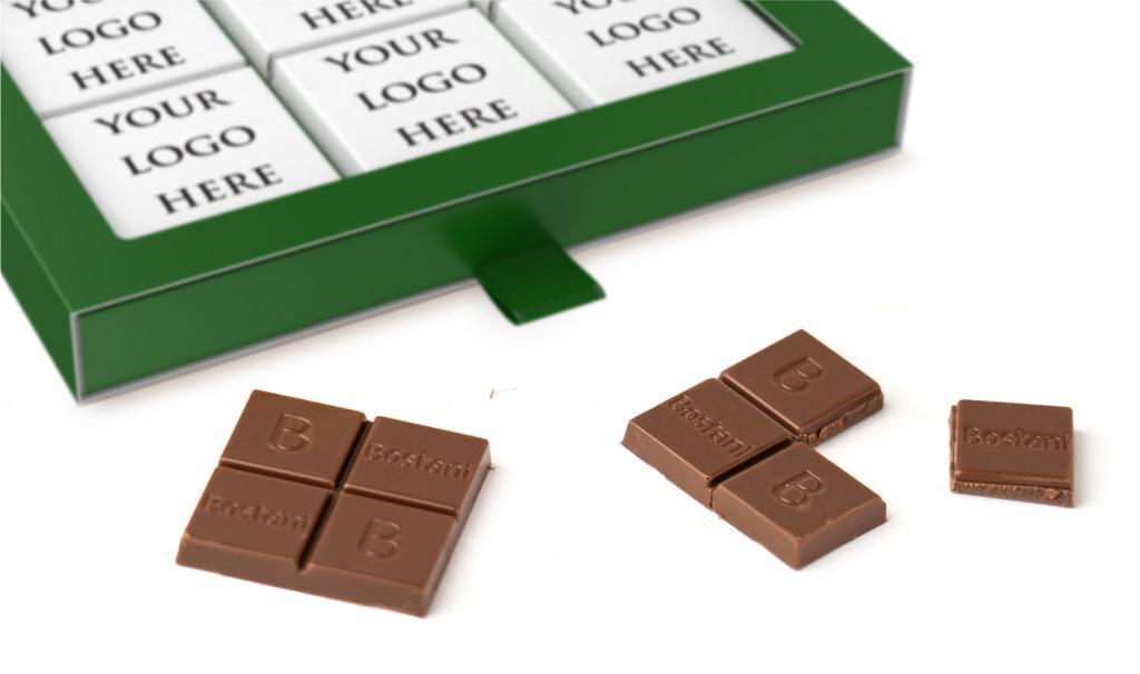 علبة الشوكولا الرقيقة الخضراء