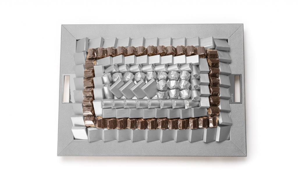 Leatherd Tray Silver Medium Mix Chocolate