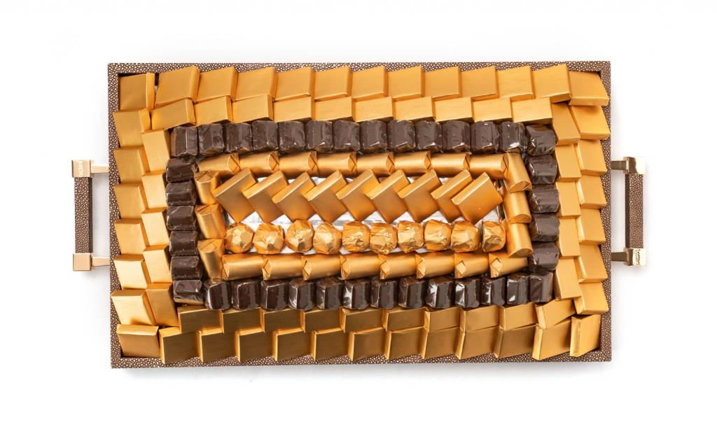 Leatherd Tray Brown Medium Mix Chocolate