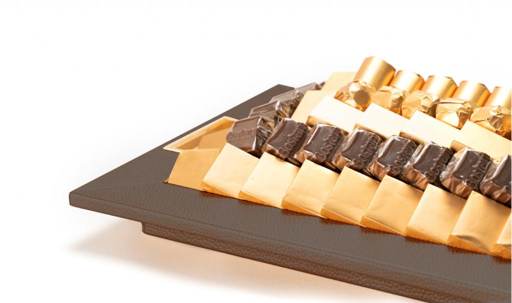Leatherd Tray Brown Small Mix Chocolate