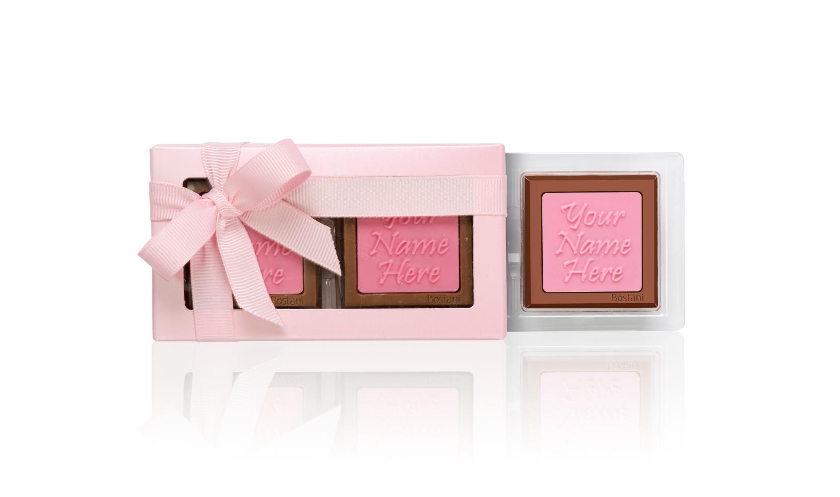 العلبة الشفافة (2 قطعة شوكولا) وردي