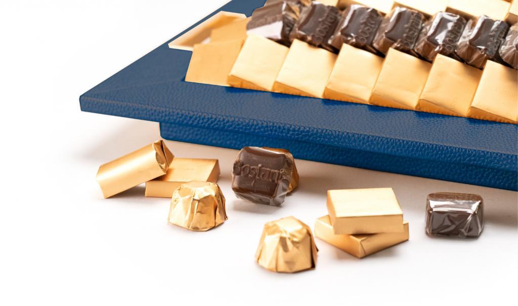 Leatherd Tray Dark Blue Medium Mix Chocolate