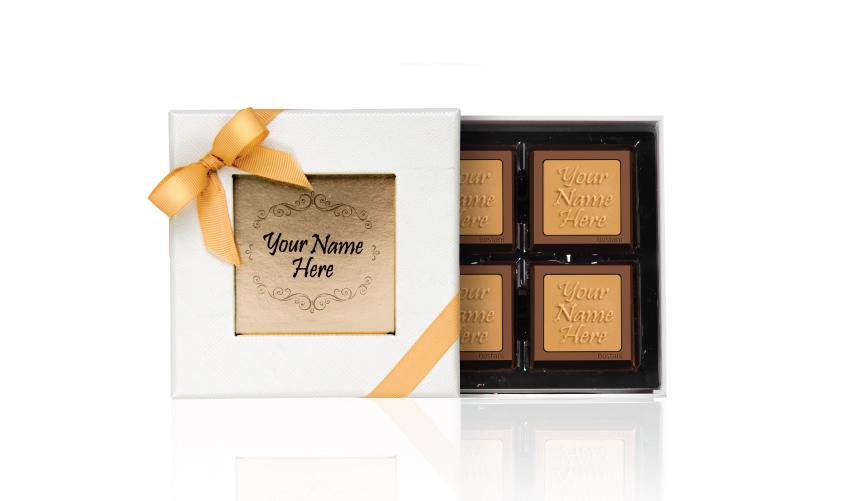 Leathered Box 4 PCS Chocolate