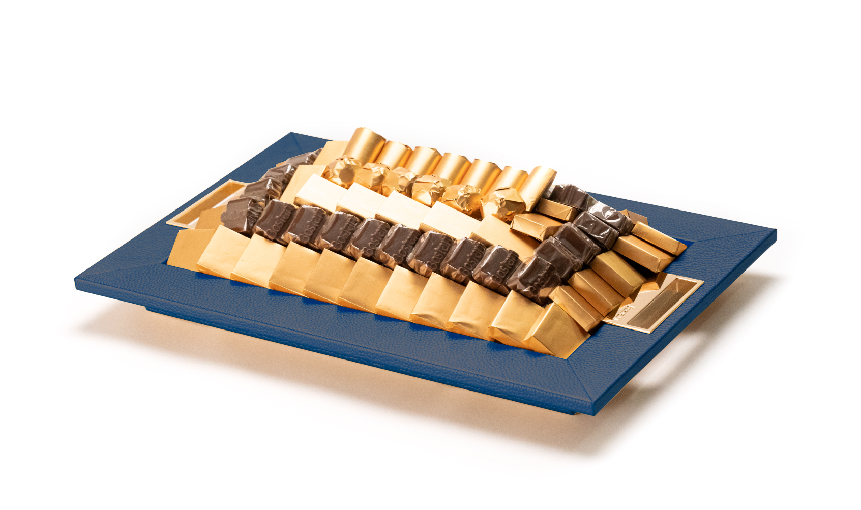 Leatherd Tray Small Dark Blue Mix Chocolate