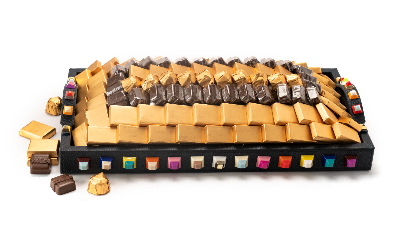 Leatherd Tray Dark Blue Small With Colored Beads Mix Chocolate