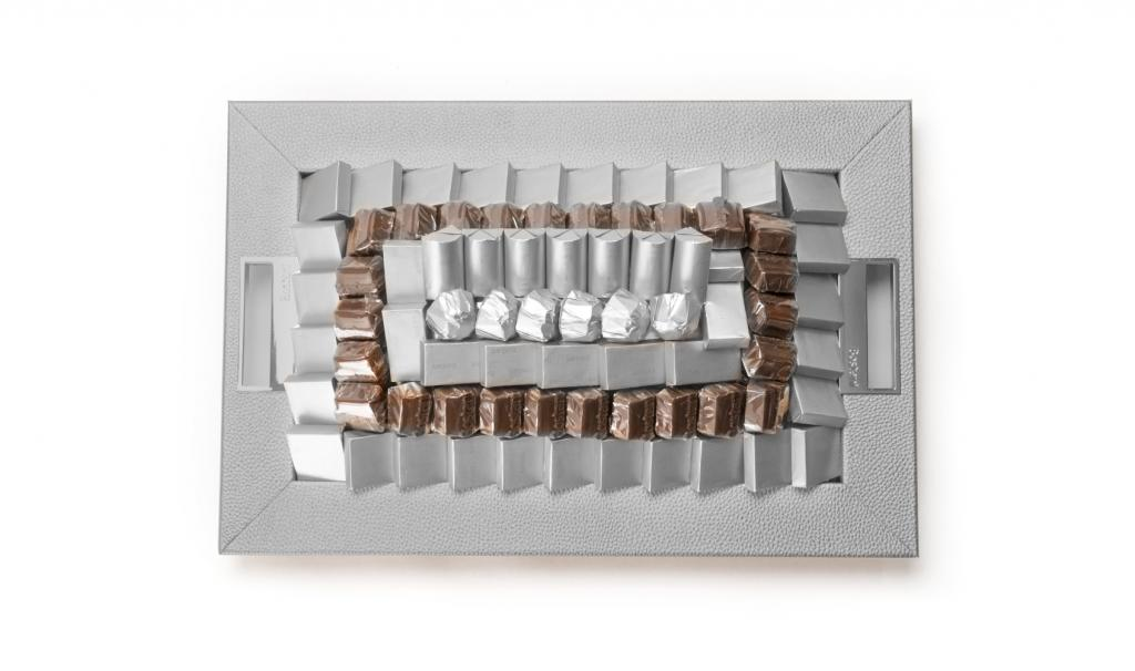 Leatherd Tray Small Silver Mix Chocolate