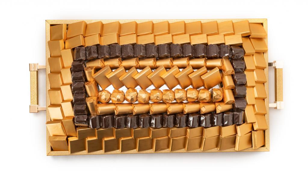 Leatherd Tray Gold Medium Mix Chocolate