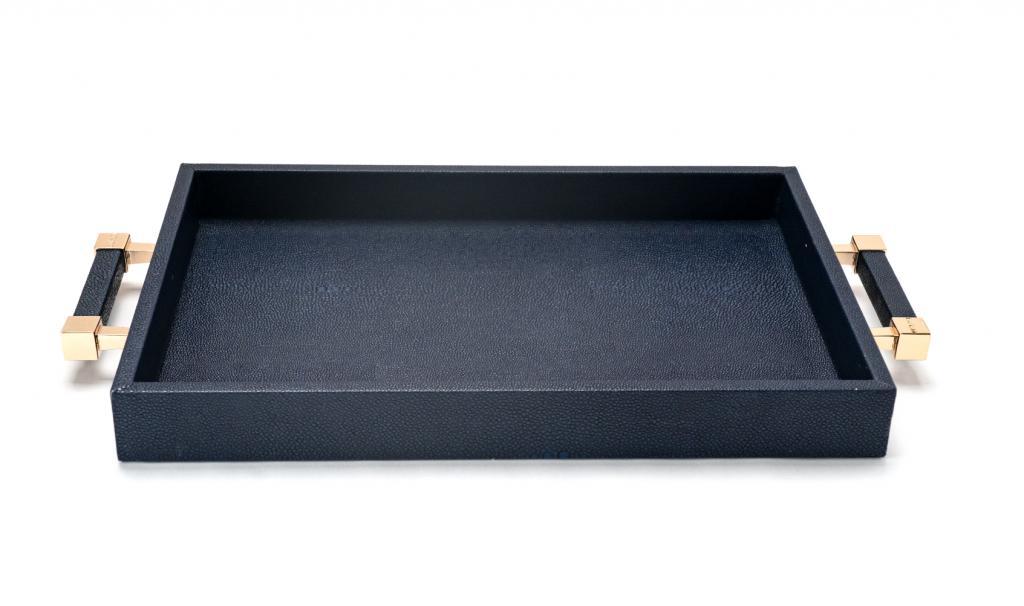 Congratulations Leathered Dark Blue Tray Small