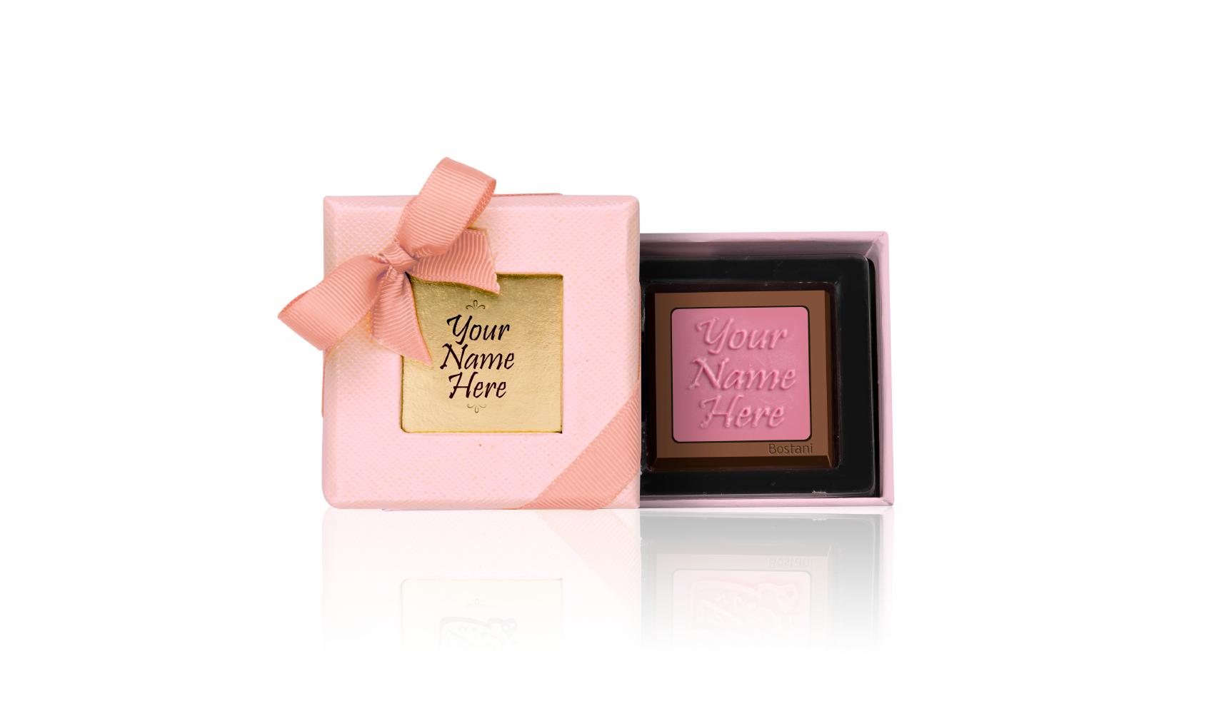 Leathered Box 1 PC Chocolate pink