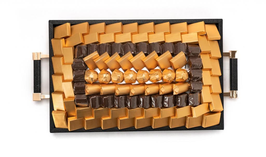 Leatherd Tray Black Small Mix Chocolate