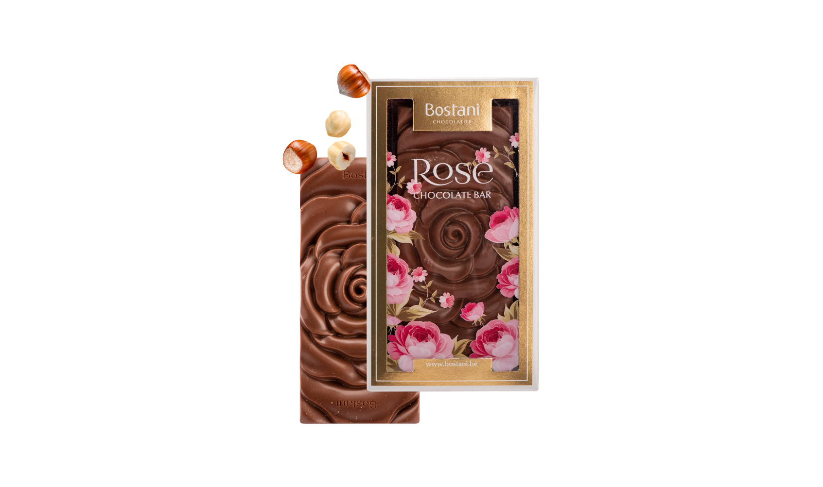 Small Rose Bar Milk Chocolate Hazelnuts
