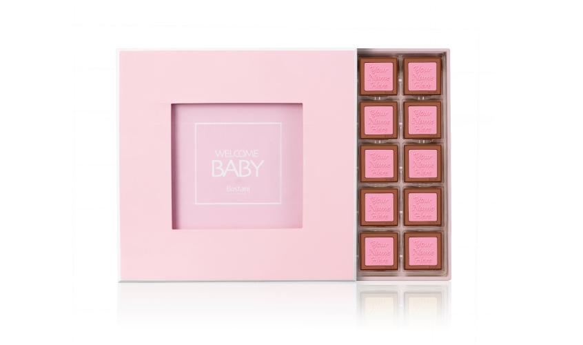 Pink Wooden Box 50 PCS Chocolate