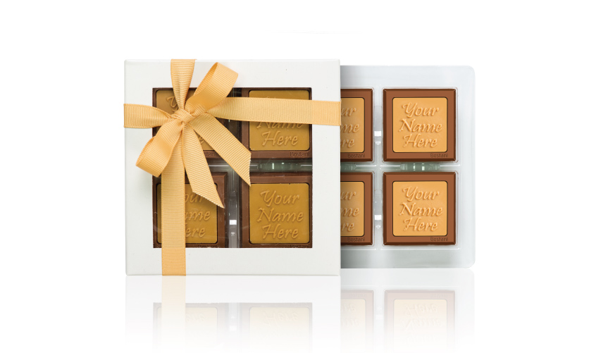علبة الشوكولا الشفافة (4 قطع شوكولا)